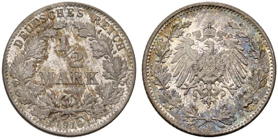 DE 1/2 Mark 1916 D