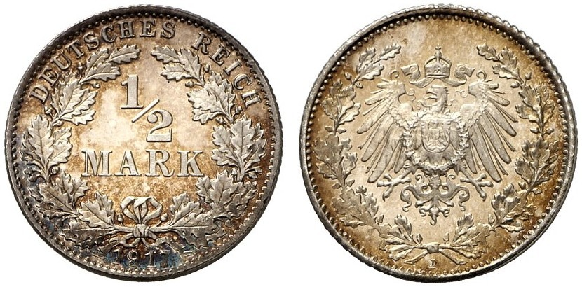 DE 1/2 Mark 1917 D