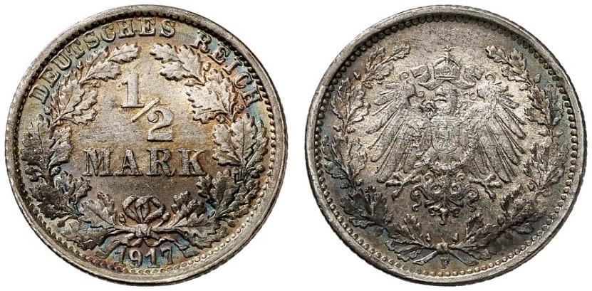 DE 1/2 Mark 1917 F