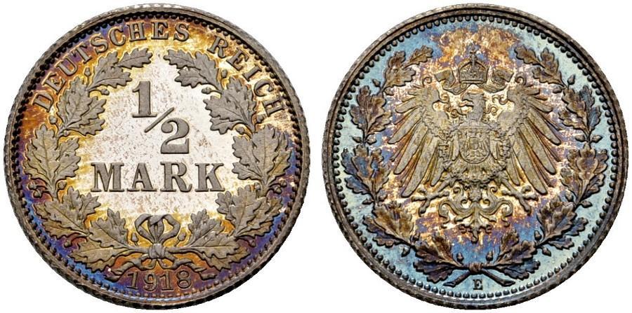 DE 1/2 Mark 1918 E