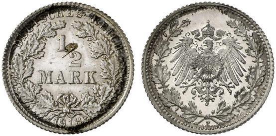 DE 1/2 Mark 1918 F