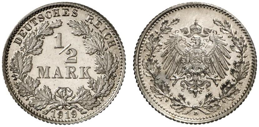 DE 1/2 Mark 1919 D