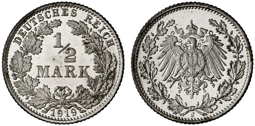 DE 1/2 Mark 1919 J
