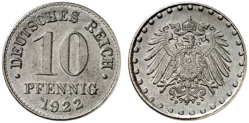 DE 10 Pfennig 1922 D
