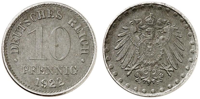 DE 10 Pfennig 1922 J