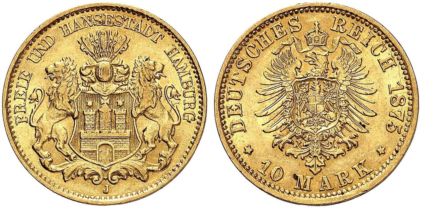 DE 10 Mark 1875 J