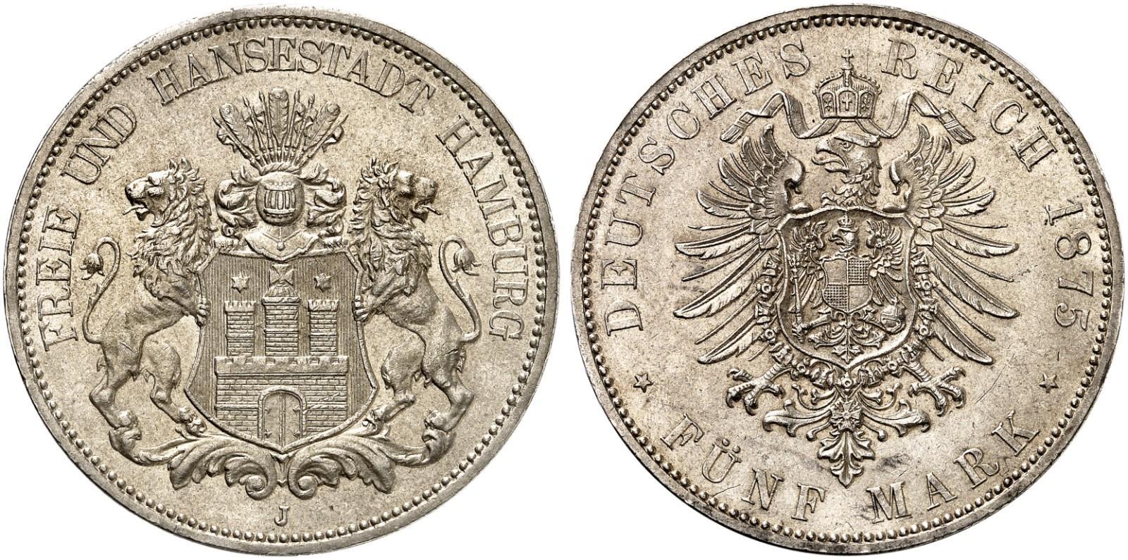 DE 5 Mark 1875 J