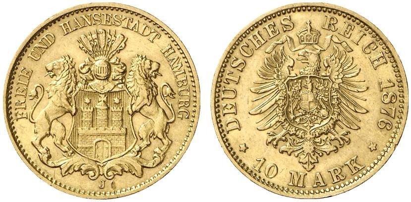 DE 10 Mark 1876 J