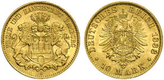 DE 10 Mark 1888 J