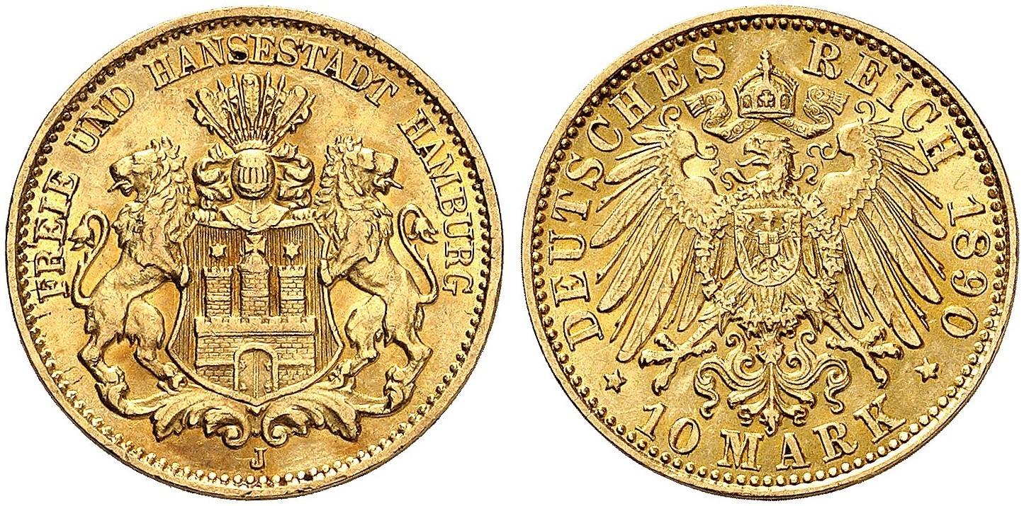 DE 10 Mark 1890 J