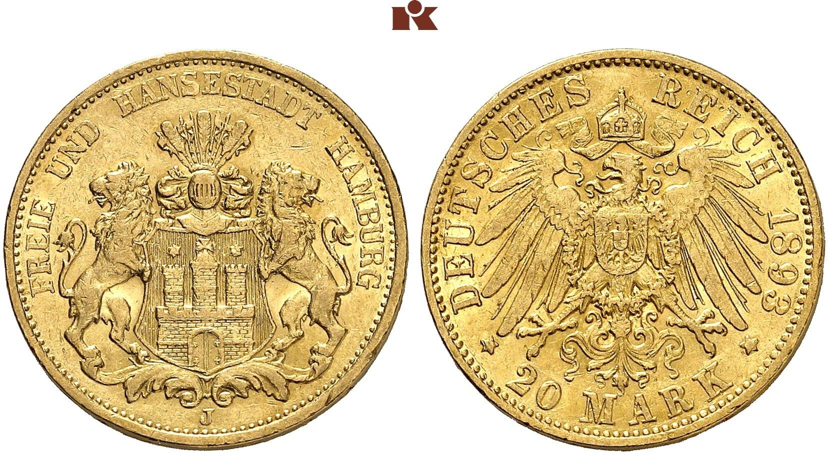 DE 20 Mark 1893 J