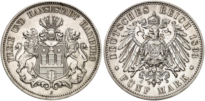 DE 5 Mark 1893 J