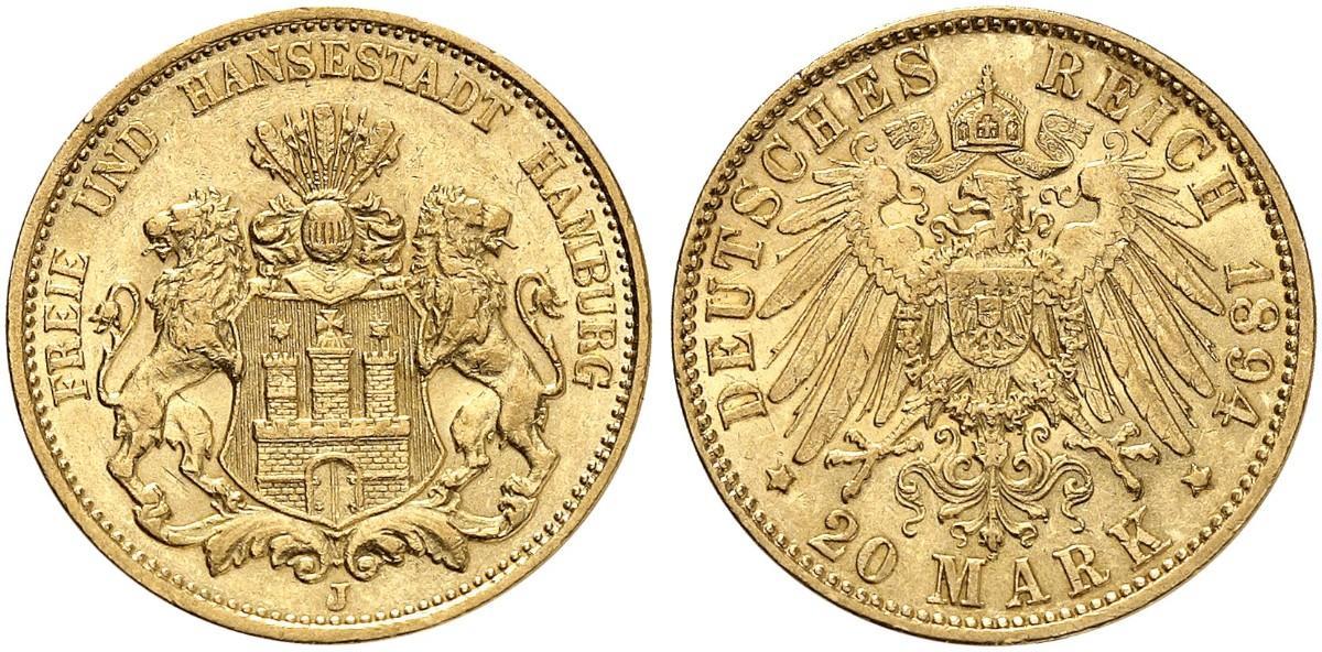 DE 20 Mark 1894 J
