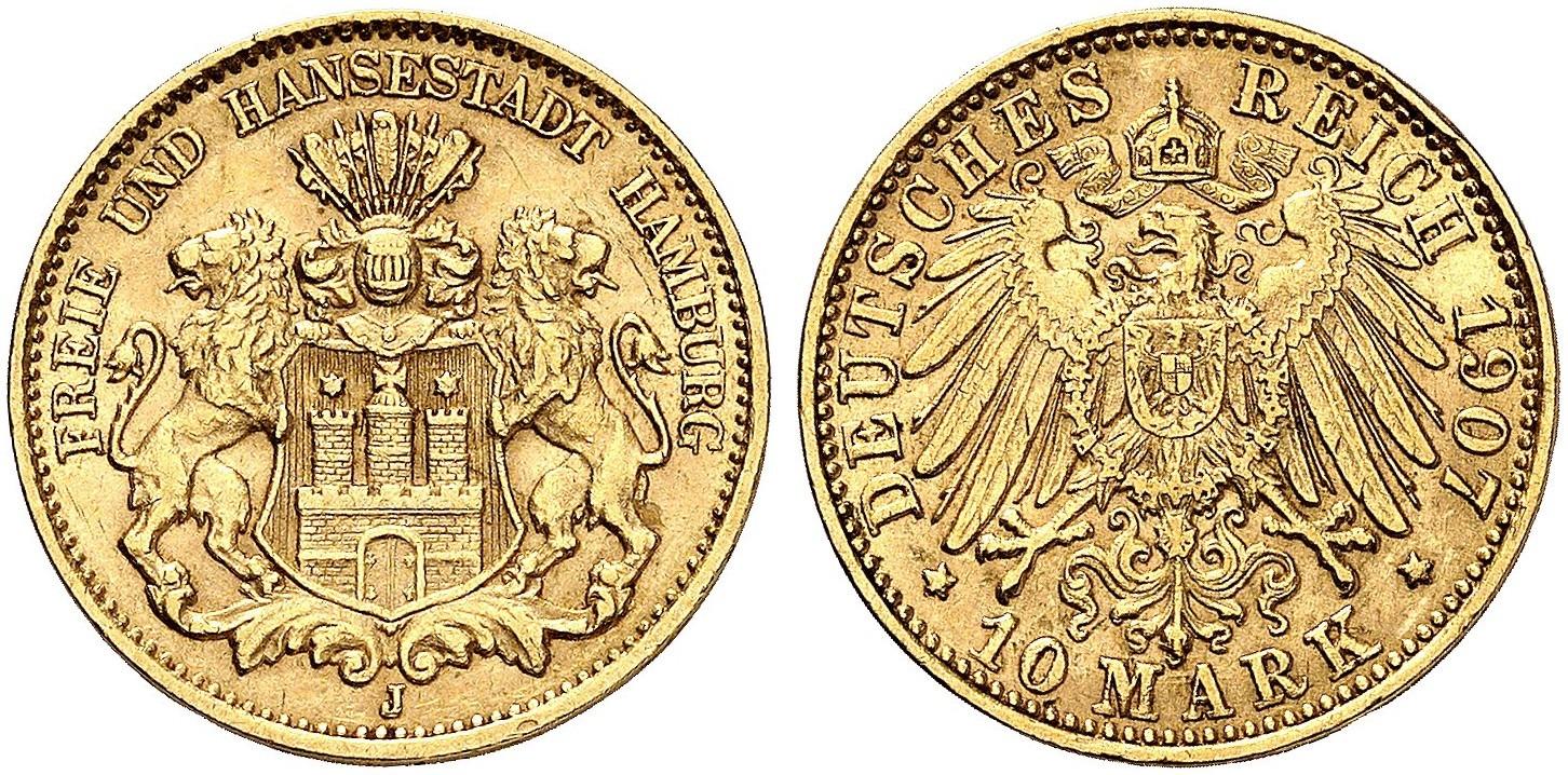 DE 10 Mark 1907 J