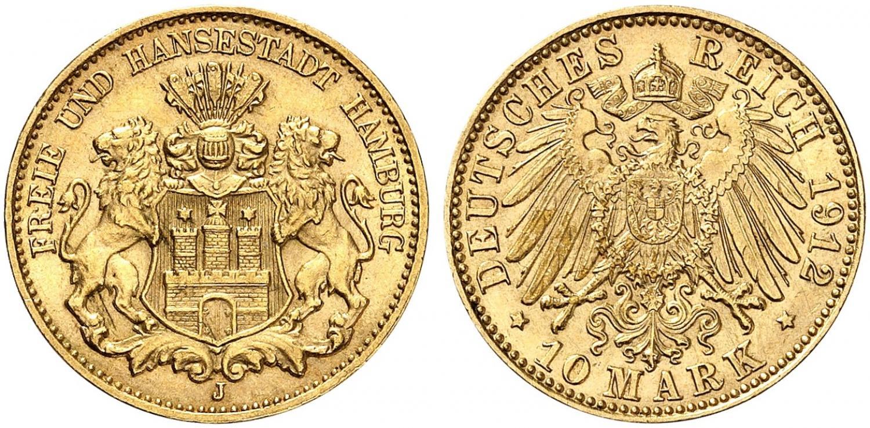 DE 10 Mark 1912 J