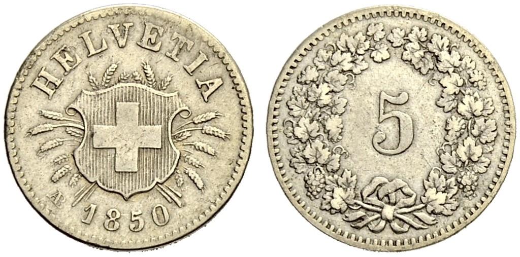 CH 5 Rappen 1850 AB