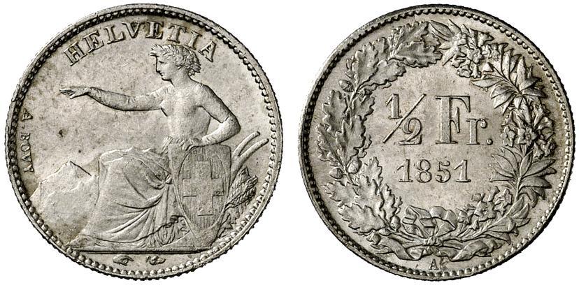 CH 1/2 Franken 1851 A
