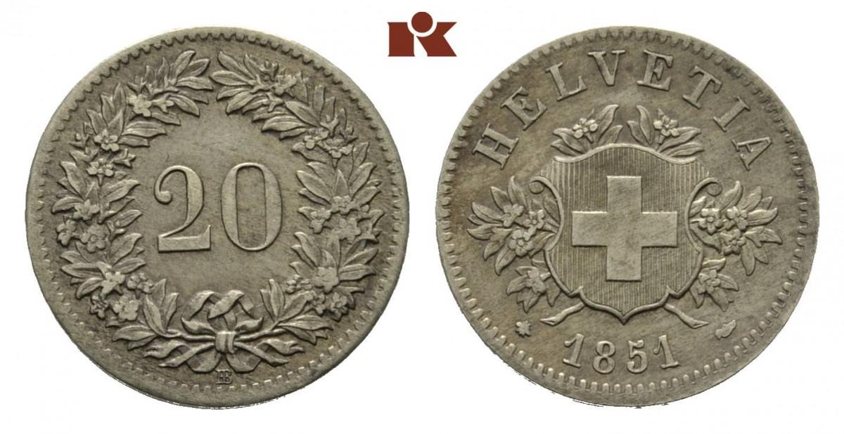 CH 20 Rappen 1851 BB