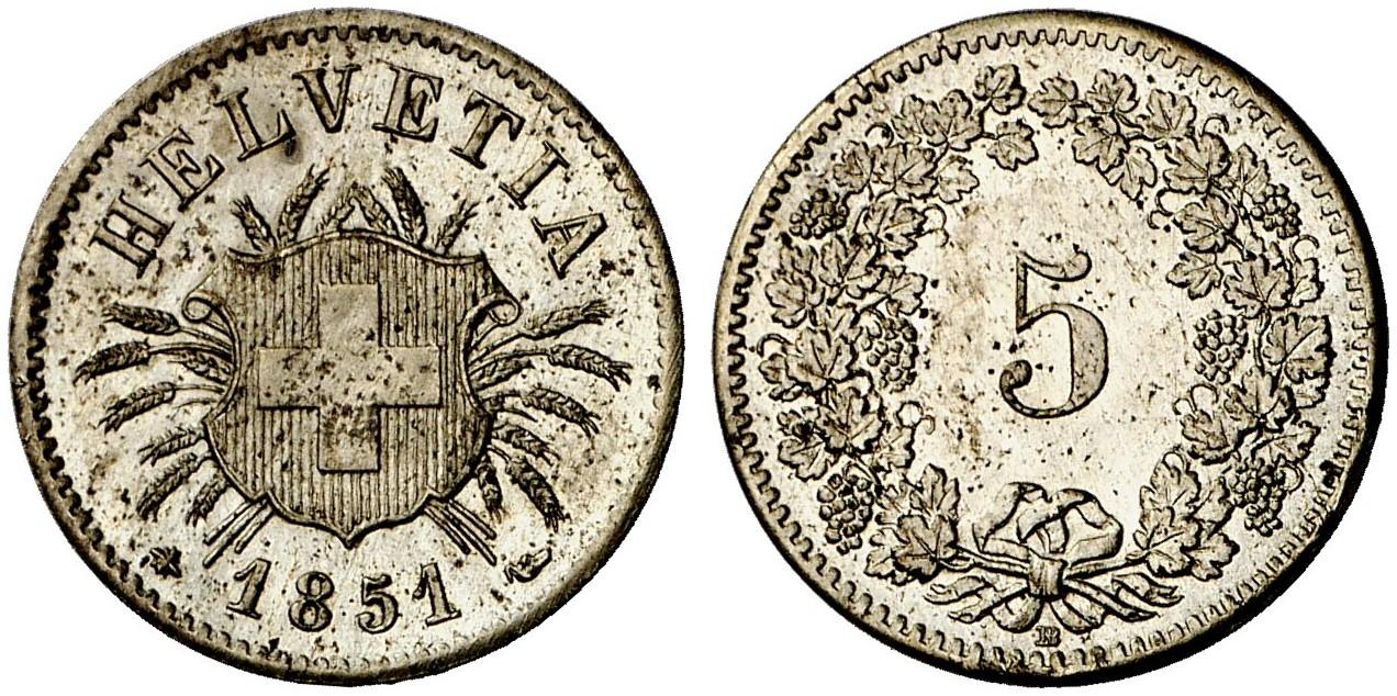 CH 5 Rappen 1851 BB
