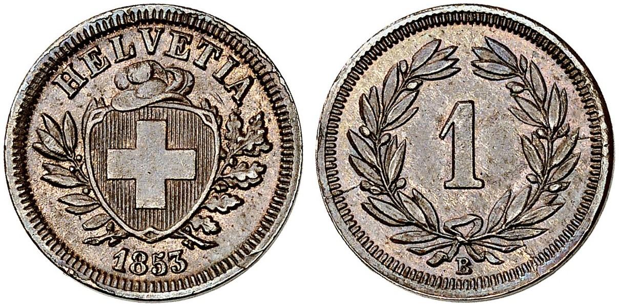 CH 1 Rappen 1853 B