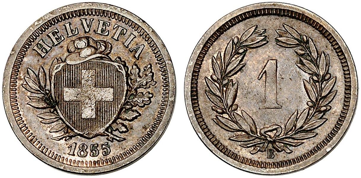 CH 1 Rappen 1855 B