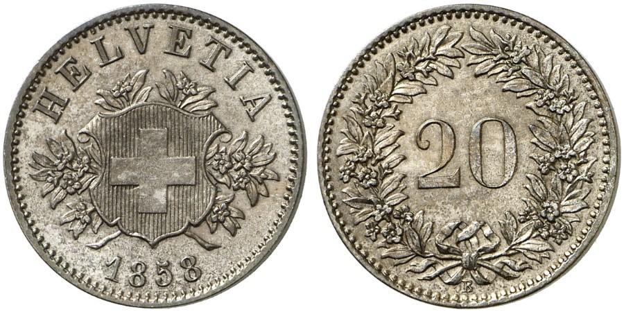 CH 20 Rappen 1858 B