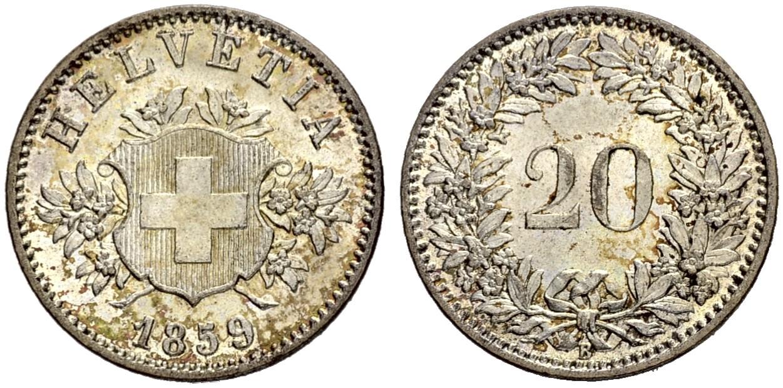 CH 20 Rappen 1859 B