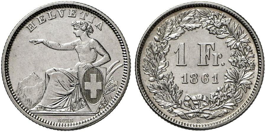 CH 1 Franken 1861 B