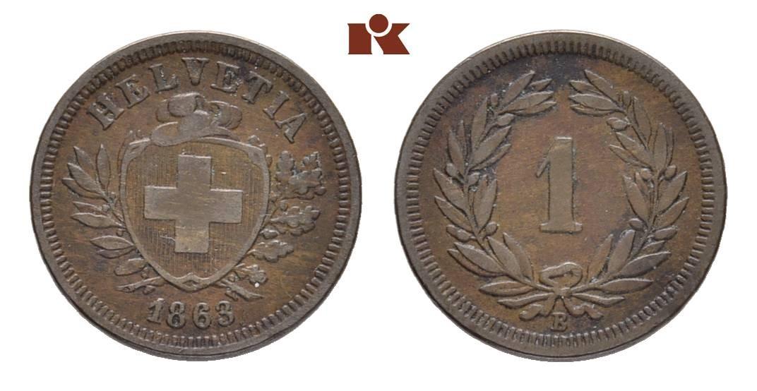CH 1 Rappen 1863 B