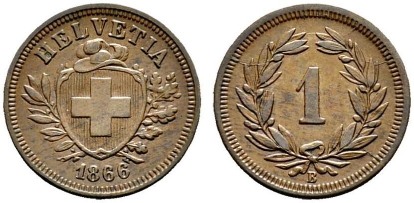 CH 1 Rappen 1866 B