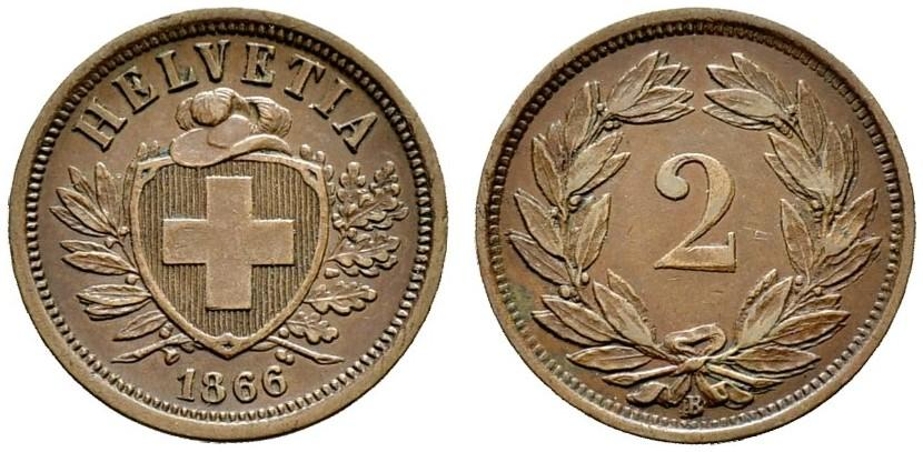 CH 2 Rappen 1866 B