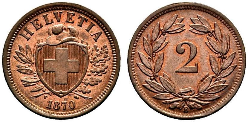CH 2 Rappen 1870 B