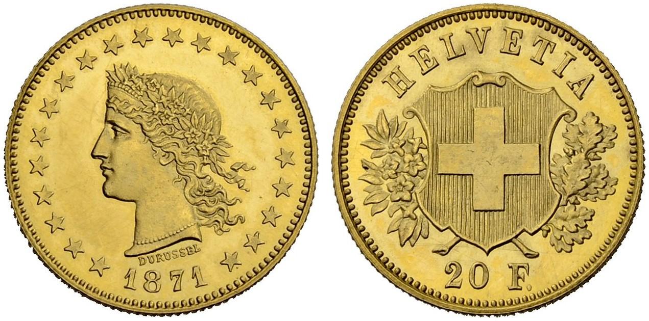 CH 20 Franken 1871