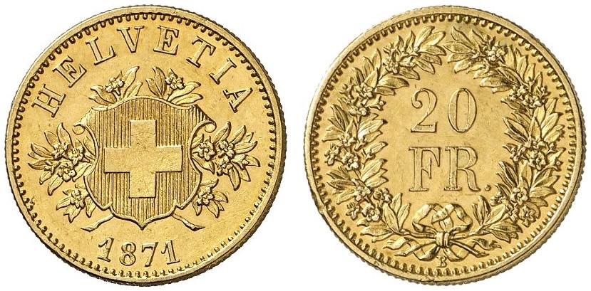 CH 20 Franken 1871 B