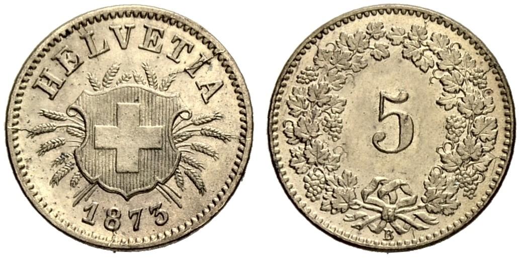 CH 5 Rappen 1873 B