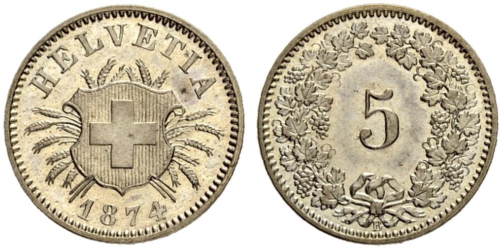 CH 5 Rappen 1874 B