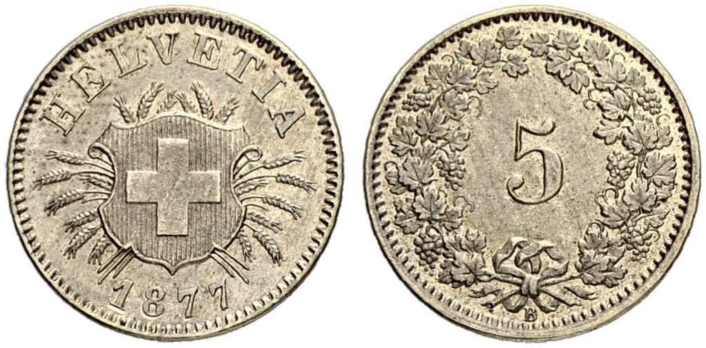 CH 5 Rappen 1877 B