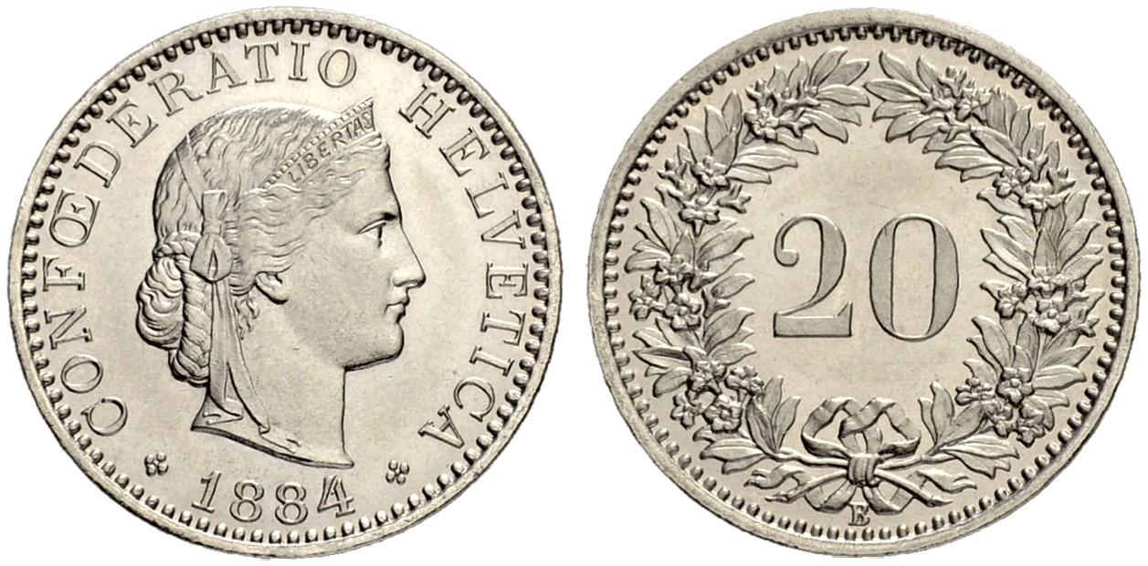 CH 20 Rappen 1884 B