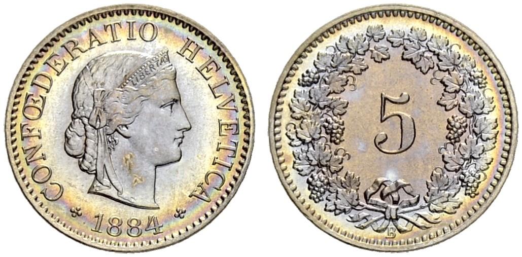 CH 5 Rappen 1884 B