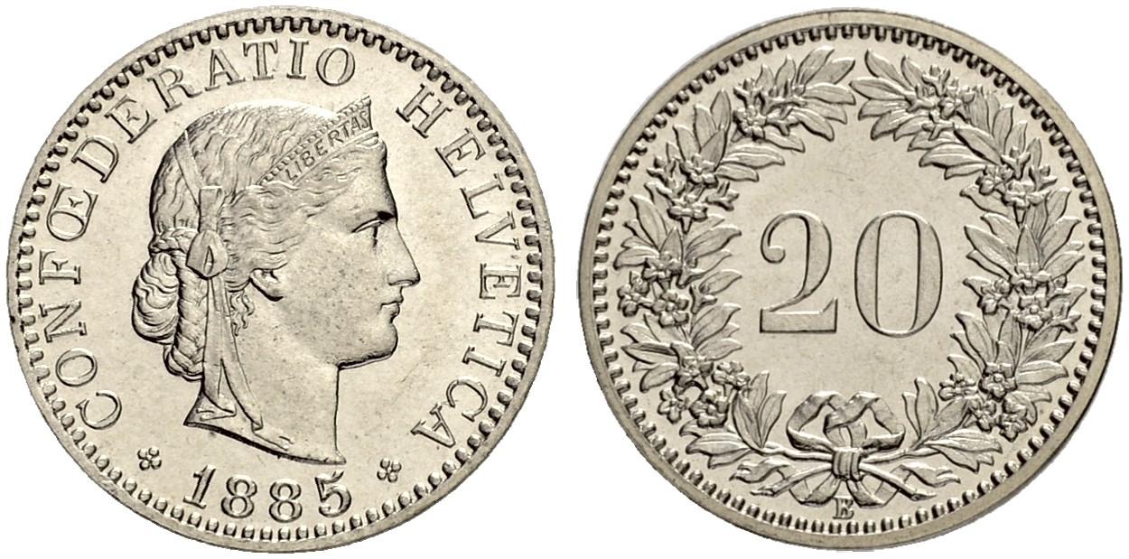 CH 20 Rappen 1885 B