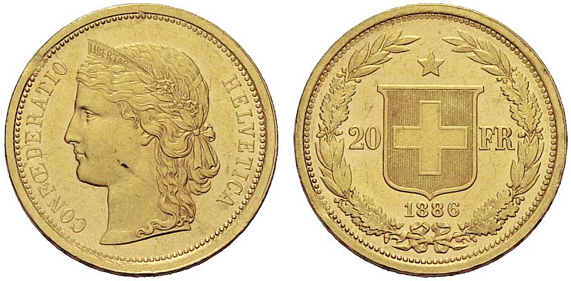CH 20 Franken 1886