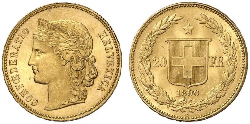 CH 20 Franken 1890 B