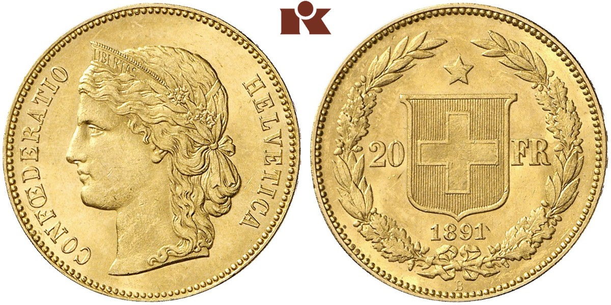 CH 20 Franken 1891 B