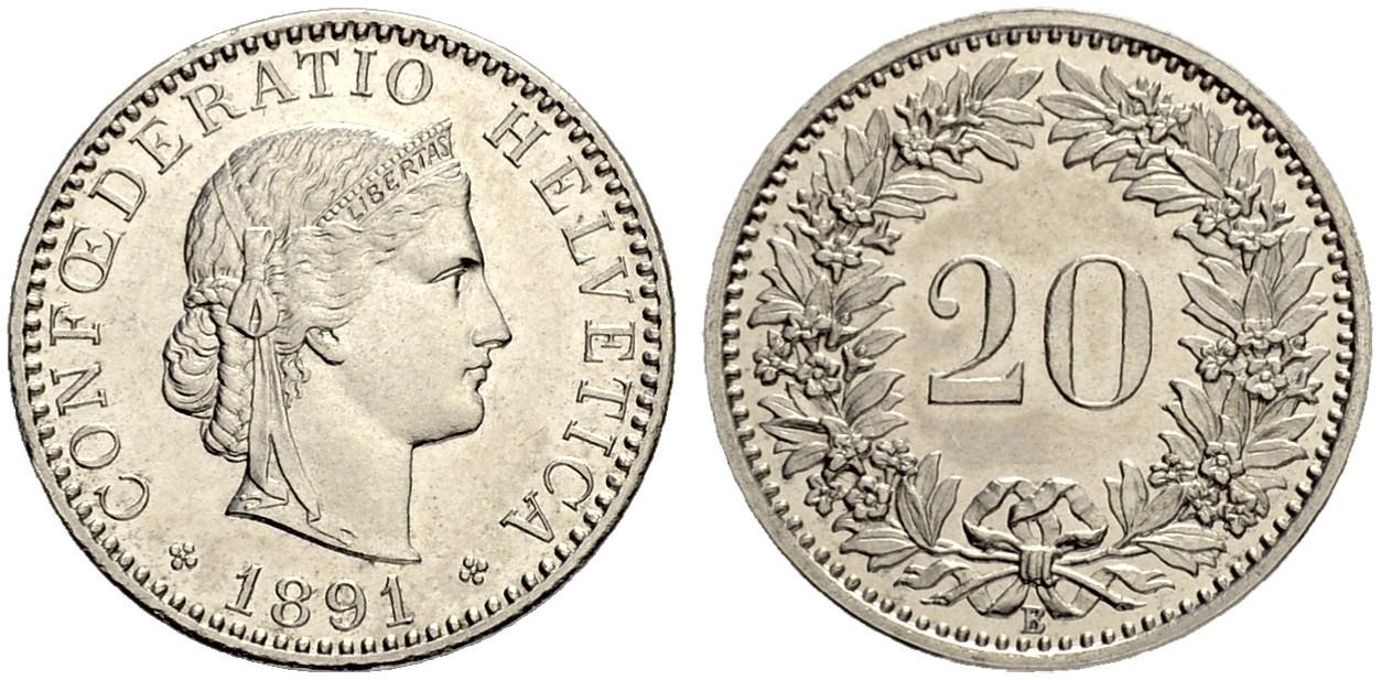CH 20 Rappen 1891 B