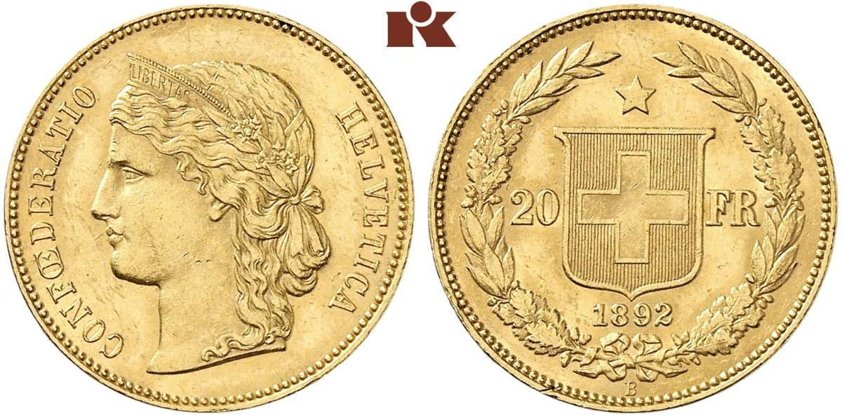 CH 20 Franken 1892 B
