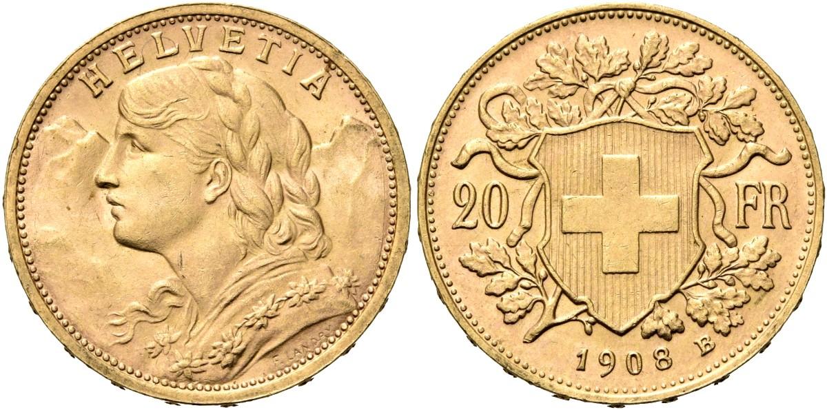 CH 20 Franken 1908 B