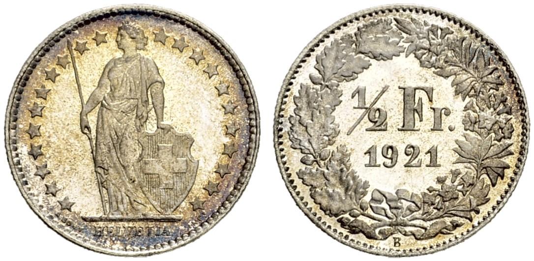 CH 1/2 Franken 1921 B