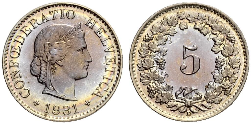 CH 5 Rappen 1931 B
