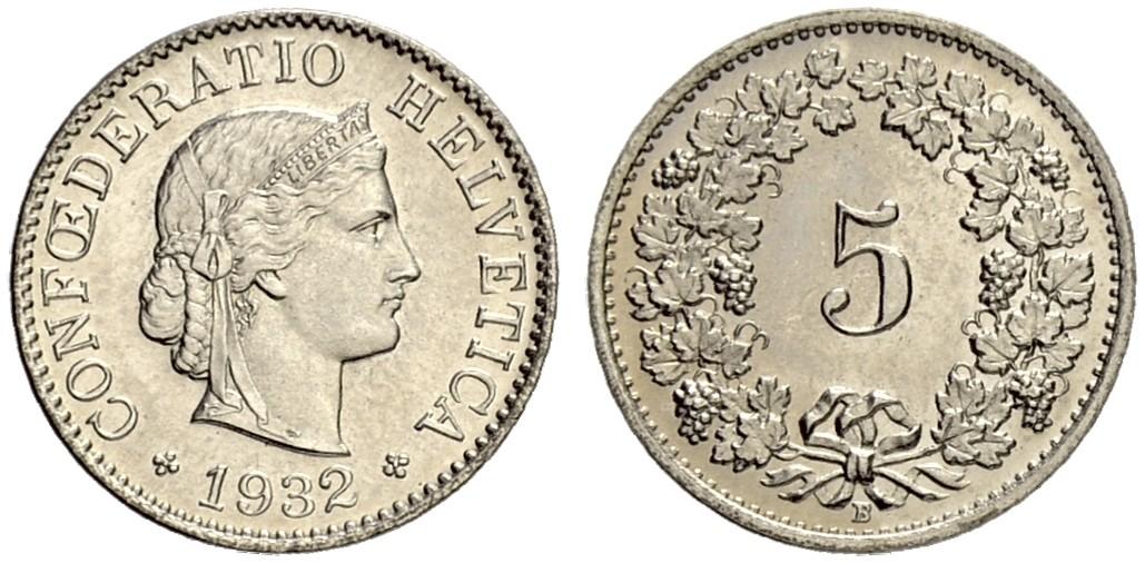 CH 5 Rappen 1932 B