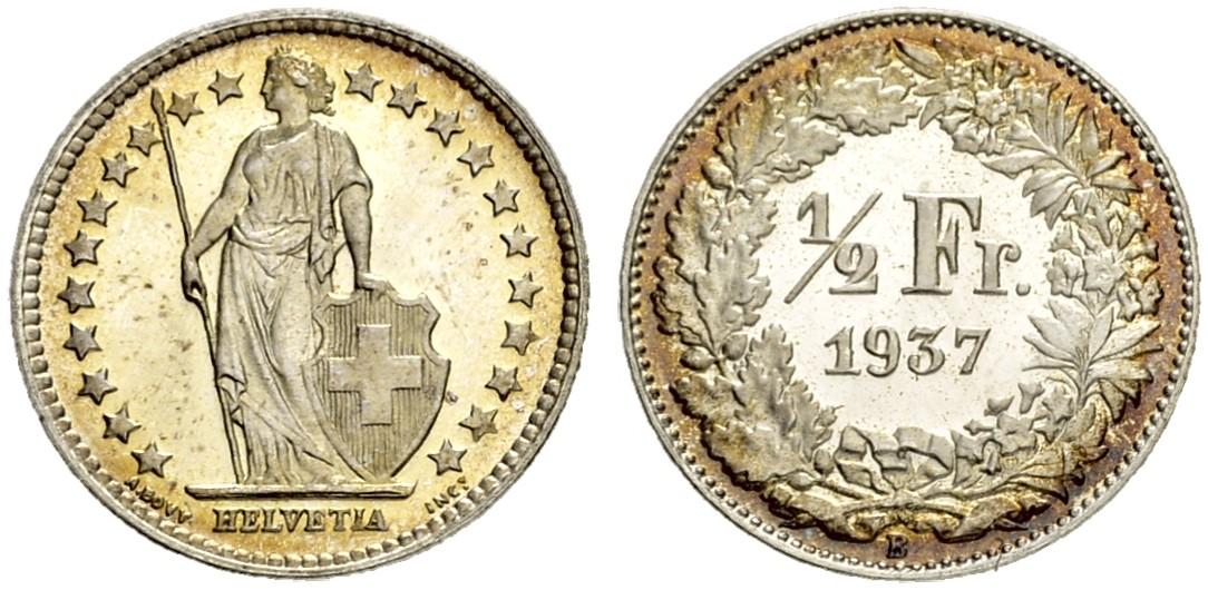 CH 1/2 Franken 1937 B